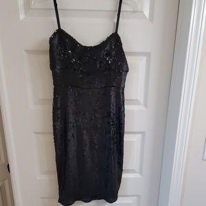 Black Sequin midi dress with adjustable bra straps